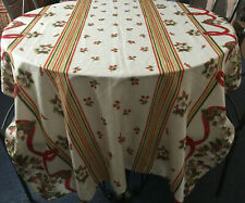 More details for vintage large rectangular cream red christmas tablecloth poinsettia 52 x 88 inch