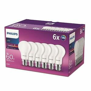 6 Pk Philips LED Frosted B22 Bayonet Cap 60W Warm White Light Bulbs Lamp 470 Lm