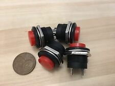 4 Pieces RED small N/O Momentary 16mm push button Switch round 12v on off C18