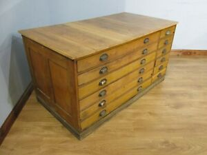 INDUSTRIAL VINTAGE 12 DRAWER OAK PLAN CHEST OF DRAWERS IDEAL SHOP FITTING