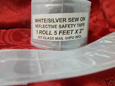 SEW ON REFLECTIVE SAFETY  SILVER WHITE SAFETY TAPE 5'  USA shipper, FREE SHPG