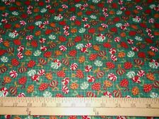 1 yard Candy Pieces Metallic Christmas  Fabric
