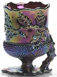 Spooner Spoonholder - Acorn - Black Amethyst Carnival Glass - Mosser USA