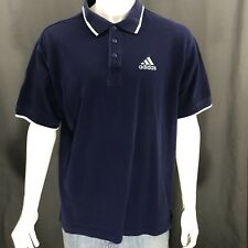 Adidas Vintage 90's Dark Blue Embroidered Logo Short Sleeve Polo Shirt Large