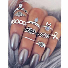 Fashion Punk Knuckle Women Rings Tribal Ethnic Hippie Stone Joint Ring Set Gift