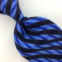 "Stefano Ricci Tie Blue Black Stripes Selftipped Necktie Luxe Silk Ties L4 XL 62"""