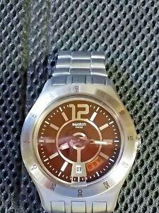 Vintage Men's Swatch SR626SW Brown Face Watch Silver Latch Adjustable Links NEW