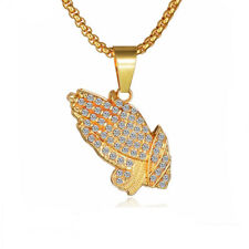 New Gold Plated Praying Hands Austrian Crystal Necklace Pendant Hip Hop Gift Bag