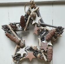 Whitewashed Twig Star with Pine Cones - Rustic Christmas Decoration