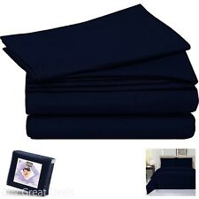 New Navy Blue King Size 3 Piece Soft Duvet Cover Set Bedding with Pillow Shams