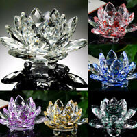 Mini Crystal Glass Lotus Flower Fake Candle Tea Lights Holder Candlestick Decor