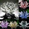 Crystal Glass Lotus Flower Fake Candle Tea Lights Holder Candlestick Shape Decor