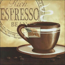 REPRINT PICTURE of coffee print ESPRESSO BEAN A with cup and saucer into 6x6