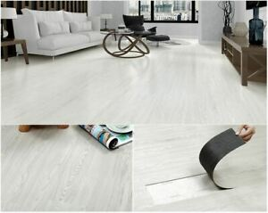 Self adhesive PVC Floor Planks Tiles Oak White 5 m² Per Pack Easy To Cut and Fit