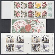 Sweden Sc 2075a, 2090a, 2100a MNH. 1994 Flowers, Explorers & Birds Booklets