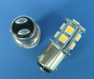 10pcs BA15D 1142 LED boat bulb Car Light 13-5050SMD LED DC12~24V,Warm White