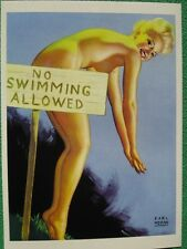 Earl Moran Pinup Girl Art Blonde Nude Skinny Dipping by No Swimming Allowed Sign