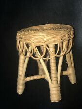 """VTG Wicker Doll Miniature Furniture Stool Side Table Chair 4"""""""