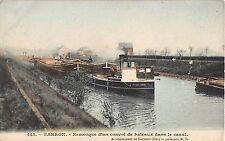 CPA 60 SARRON REMORQUE D'UN CONVOI DE BATEAUX DANS LE CANAL