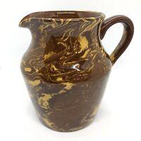 Vintage 1950s Kensington Ware KPB Pottery Jug Mottled Brown Caramel Mid Century