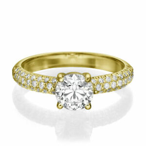 1.65 CT D/VS1 Natural Round Cut Diamond Engagement Ring 14K Yellow Gold