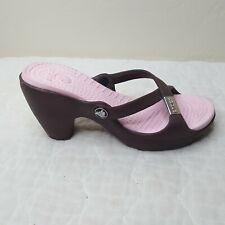 CROCS  Womens Sandals Sz 7M Slip On Brown Strap Pink Instep  Chunky Heel