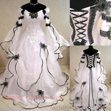 Black and White Gothic Medieval Wedding Ball Gown Victorian Country Bridal Dress