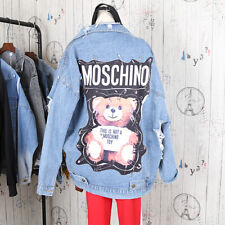 Women Punk Rock Blue Coat Veste DENIM JACKET Stylish Teddy Bear Safety Pin Tops