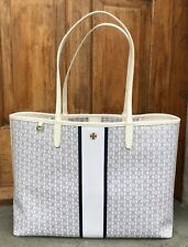 Tory Burch NWT Ivory Gemini Link Stripe Large Coated Canvas Tote Bag #33801 $198