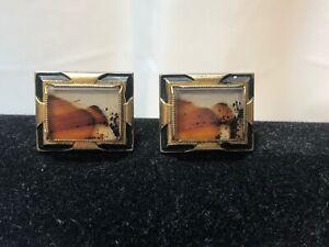 Art Deco Agate Black Gold Tone Cufflinks Set Cuff Links