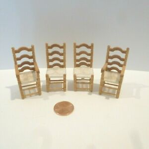 """DOLLHOUSE MINIATURE 1/2"""" SCALE (1:24) CHAIRS SET OF 4  - 2 ARM & 2 SIDE"""