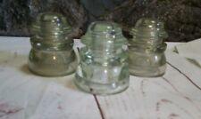 Glass Insulators Hemingray 45 Lot 3 Clear Vintage Telephone Pole Electric USA