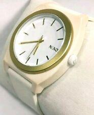 Nixon Watch The Time Teller Minimal Gold Bezel White Face 100m Men Women