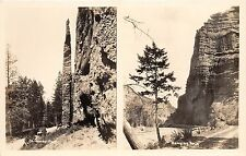 ROCK FORMATIONS LABELED CHIMNEY ROCK & HANGING ROCK REAL PHOTO POSTCARD c1930s