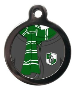 Pet ID tag GREEN & WHITE SCARF FUN WIZARD Personalised Tag or Keyring 2 sizes