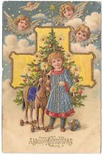 Christmas Postcard Angel Heads Watching Child with Horse & Tree~104083