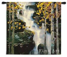 """Waterfall Landscape Tapestry Wall Hanging - Wood Scene, H53"""" x W53"""""""