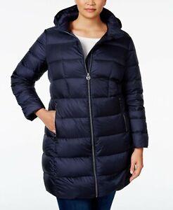 New Michael Kors Mk Dark Blue Box Quilt Packable Down Hood Puffer Jacket Coat 3X