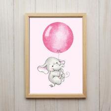 Baby Elefant Mädchen Mit Ballon Rosa Pink Kunstdruck A4 Bild Kinderzimmer Tier