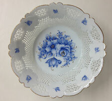 Woven Porceline Bowl, Blue hand made and hand painted