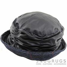 Ladies / Womens Waxed Cloche Waterproof Hat with Coloured Tweed Brim
