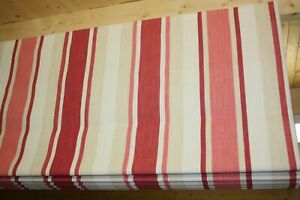 Roman Blind Laura Ashley Awning Cranberry Stripe Fabric  Made to measure