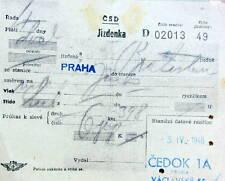 1946 BILLET DE TRAIN CSD PRAHA CEDOK VACLAVSKE
