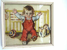 1930s Nursery Wall Art by Maud Tousey Fangel Babys First Steps Original Framed