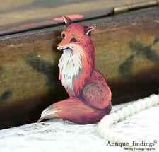 4pcs Vintage Fox Handmade Wood Wooden Charms / Pendants HW021A