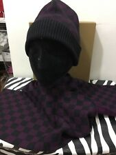 Designer inspired ladies new with box Damier patterned hat and scarf set
