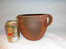 Antique 19th.c Pennsylvania Redware Primitive Table Top Crock/Pot w Handle (b)