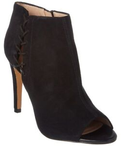 French Connection Black Suede Ankle Peep Toe Boots UK6 39 US8.5