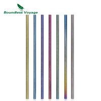 Titanium Straight Straw Ultralight Drinking Healthy Reusable Straw with Cleaning