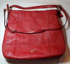 Coach Leather Handbag Purse - Red - Zipper - Gold Hardware - Heavy - Pockets